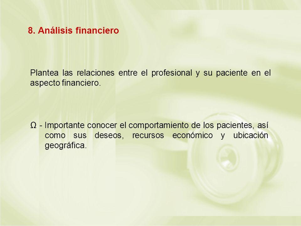 Plantea las relaciones entre el profesional y su paciente en el aspecto financiero. - Importante conocer el comportamiento de los pacientes, así como