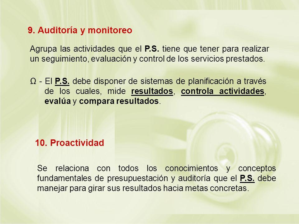 Agrupa las actividades que el P.S. tiene que tener para realizar un seguimiento, evaluación y control de los servicios prestados. - El P.S. debe dispo