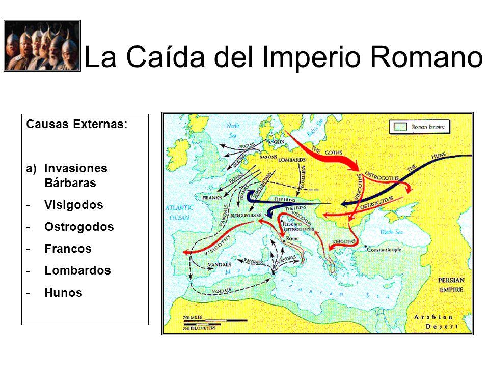 La Caída del Imperio Romano Causas Externas: a)Invasiones Bárbaras -Visigodos -Ostrogodos -Francos -Lombardos -Hunos