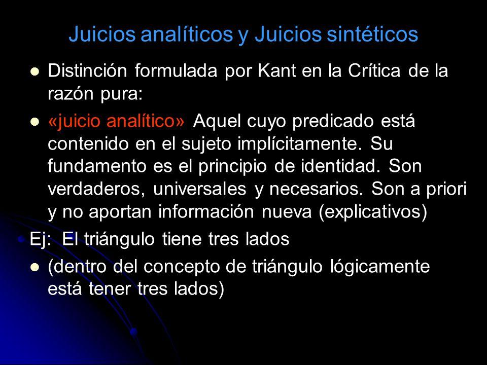 Juicios analíticos y Juicios sintéticos Distinción formulada por Kant en la Crítica de la razón pura: «juicio analítico» Aquel cuyo predicado está con