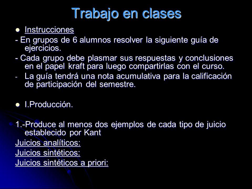 Trabajo en clases Instrucciones Instrucciones - En grupos de 6 alumnos resolver la siguiente guía de ejercicios. - Cada grupo debe plasmar sus respues