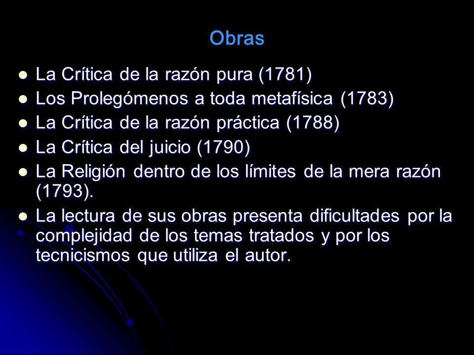 La Crítica de la razón pura (1781) La Crítica de la razón pura (1781) Los Prolegómenos a toda metafísica (1783) Los Prolegómenos a toda metafísica (17