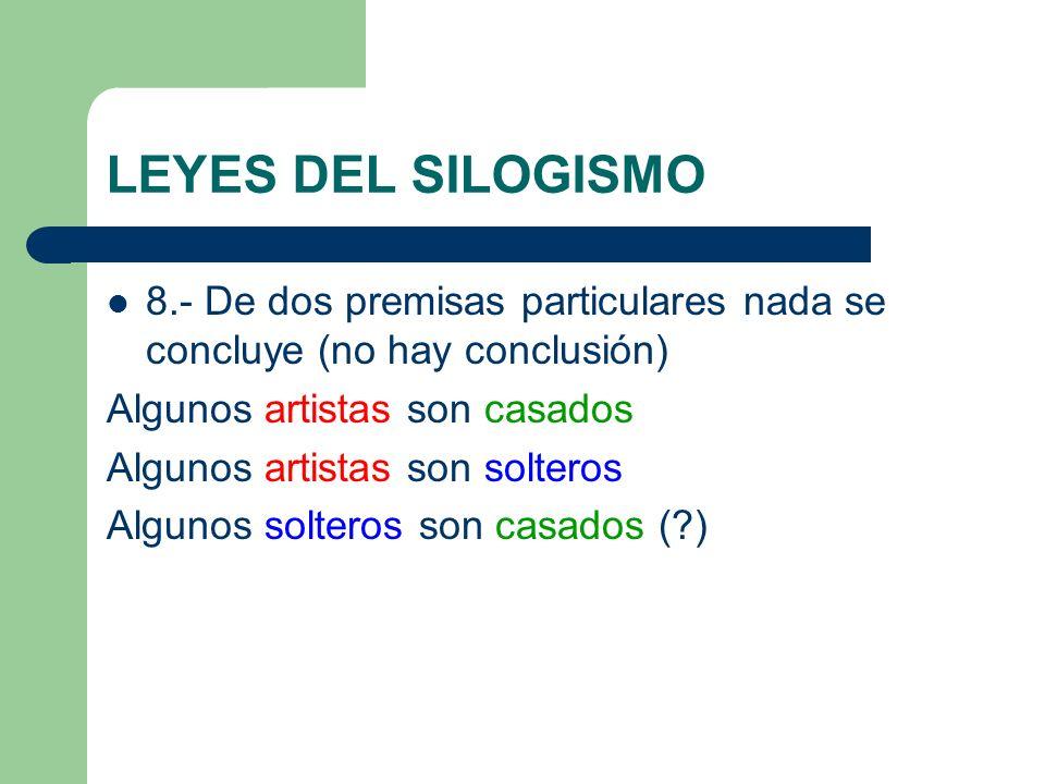 LEYES DEL SILOGISMO 8.- De dos premisas particulares nada se concluye (no hay conclusión) Algunos artistas son casados Algunos artistas son solteros A