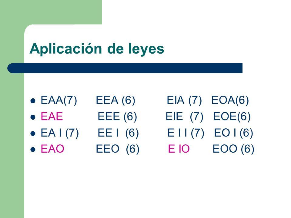 Aplicación de leyes EAA(7) EEA (6) EIA (7) EOA(6) EAE EEE (6) EIE (7) EOE(6) EA I (7) EE I (6) E I I (7) EO I (6) EAO EEO (6) E IO EOO (6)