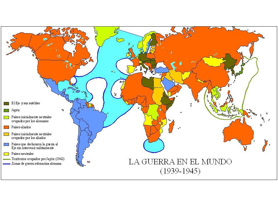 LA SEGUNDA GUERRA MUNDIAL 1939 - 1945 GUERRA EN EUROPA (1939-1941) EXPANSIÓN DE ALEMANIA FRANCIA NORTE DE EUROPA POLONIA BATALLA DE INGLATERRA GUERRA EN EL MEDITERRÁNEO PACTO TRIPARTITO (ALEMANIA-ITALIA-JAPÓN) OCUPACIÓN DE YUGOSLAVIA Y GRECIA GUERRA DEL PACÍFICO (1939-1941) EXPANSIÓN JAPONESA BOMBARDEO DE PEARL HARBOUR ENTRADA DE EEUU EN LA GUERRA GUERRA GERMANO-SOVIÉTICA (1941-1943) PACTO DE NEUTRALIDAD SOVIÉTICO-JAPONÉS DERROTA ALEMANA EN STALINGRADO EUROPA (1942-1945): VICTORIAS DE LOS ALIADOS CAMPAÑA DE ITALIA AVANCE RUSO EN EL ESTE DESEMBARCO EN NORMANDÍA EL PACÍFICO (1942-1945): VICTORIAS NORTEAMERICANAS BOMBARDEO DE HIROSHIMA Y NAGASAKI VICTORIAS DE EEUU EN EL MAR DEL CORAL CAPITULACIÓN DE ALEMANIA Y JAPÓN F A S E S S o n En Por CAMBIO DE RUMBO Las consecuencias son Se manifiesta en Por Termina con Provoca la Son