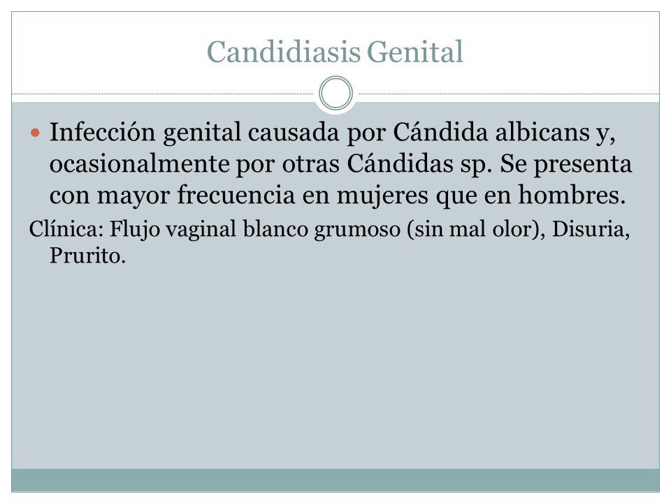 Candidiasis Genital Infección genital causada por Cándida albicans y, ocasionalmente por otras Cándidas sp. Se presenta con mayor frecuencia en mujere