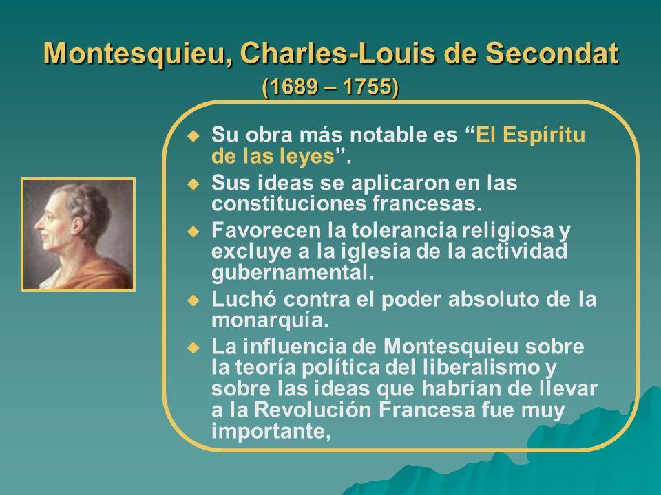 Montesquieu, Charles-Louis de Secondat (1689 – 1755) Su obra más notable es El Espíritu de las leyes. Sus ideas se aplicaron en las constituciones fra