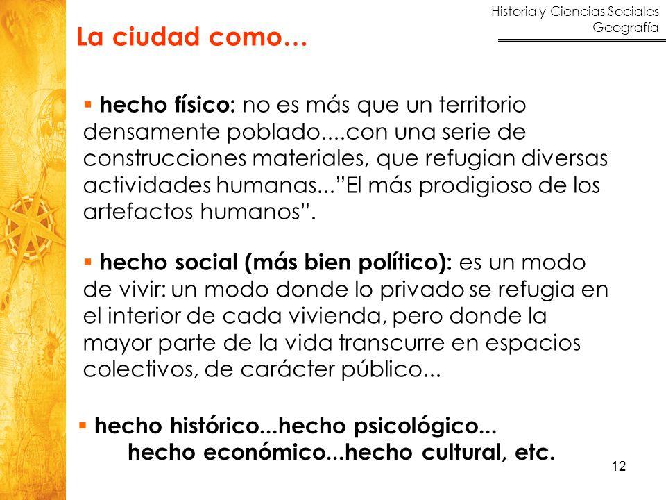 Historia y Ciencias Sociales Geografía 12 hecho histórico...hecho psicológico... hecho económico...hecho cultural, etc. hecho físico: no es más que un