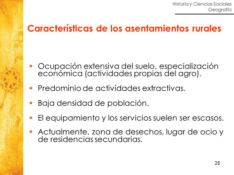 Historia y Ciencias Sociales Geografía 25 Ocupación extensiva del suelo, especialización económica (actividades propias del agro). Predominio de activ