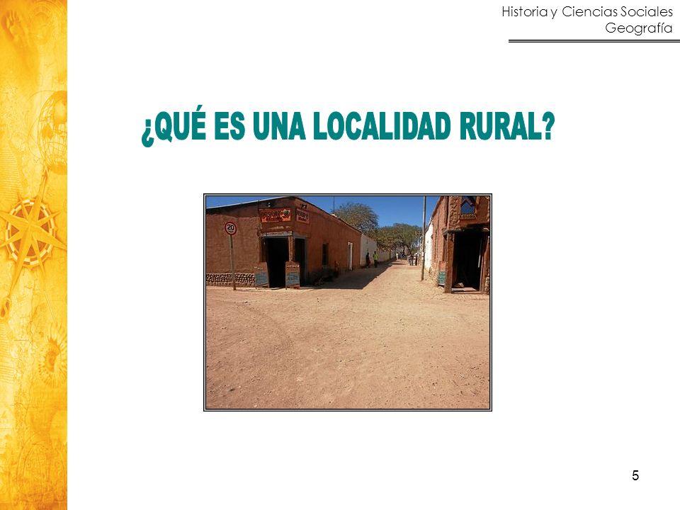 Historia y Ciencias Sociales Geografía 6 Dificultad para definir localidad urbana y localidad rural Definiciones por negación.