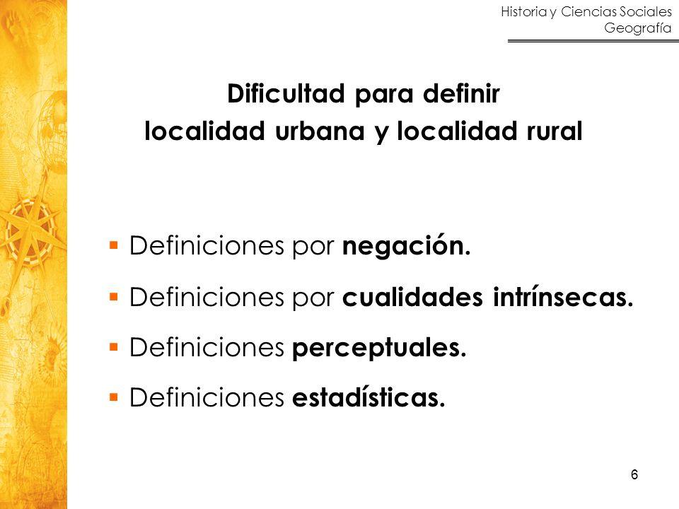 Historia y Ciencias Sociales Geografía 6 Dificultad para definir localidad urbana y localidad rural Definiciones por negación. Definiciones por cualid