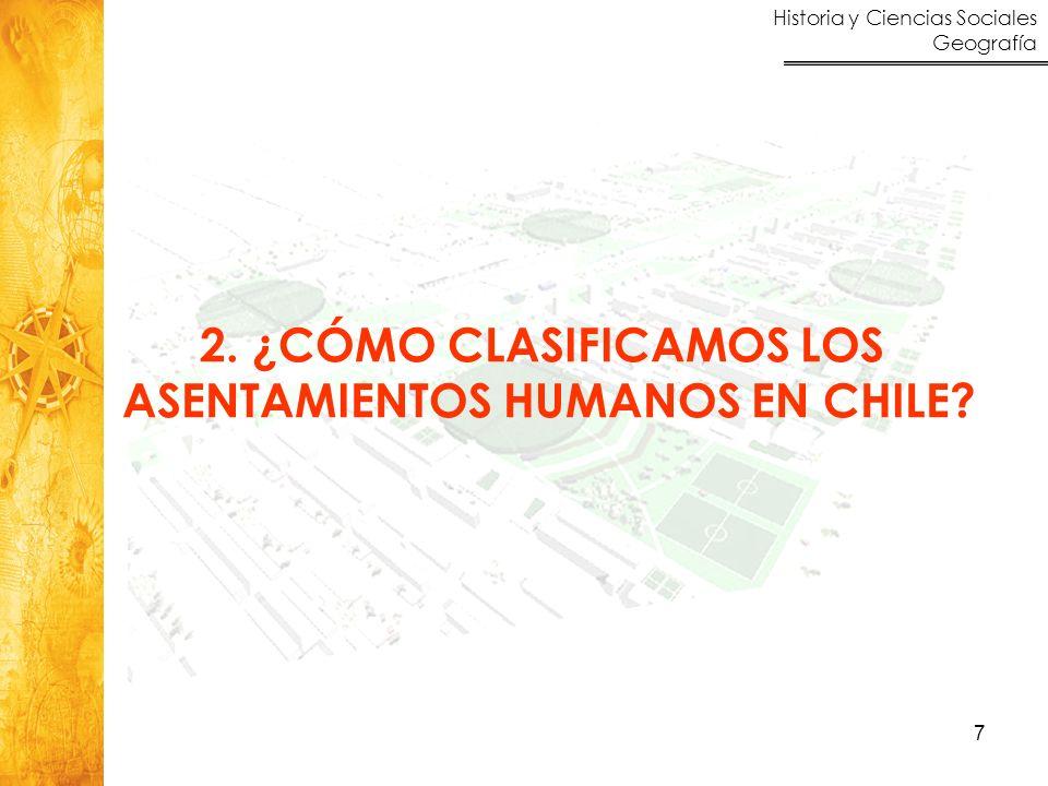 Historia y Ciencias Sociales Geografía 7 2. ¿CÓMO CLASIFICAMOS LOS ASENTAMIENTOS HUMANOS EN CHILE?