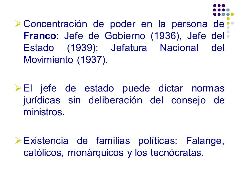 Concentración de poder en la persona de Franco: Jefe de Gobierno (1936), Jefe del Estado (1939); Jefatura Nacional del Movimiento (1937). El jefe de e