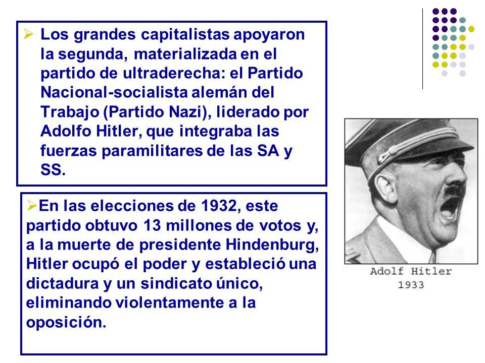 Los grandes capitalistas apoyaron la segunda, materializada en el partido de ultraderecha: el Partido Nacional-socialista alemán del Trabajo (Partido