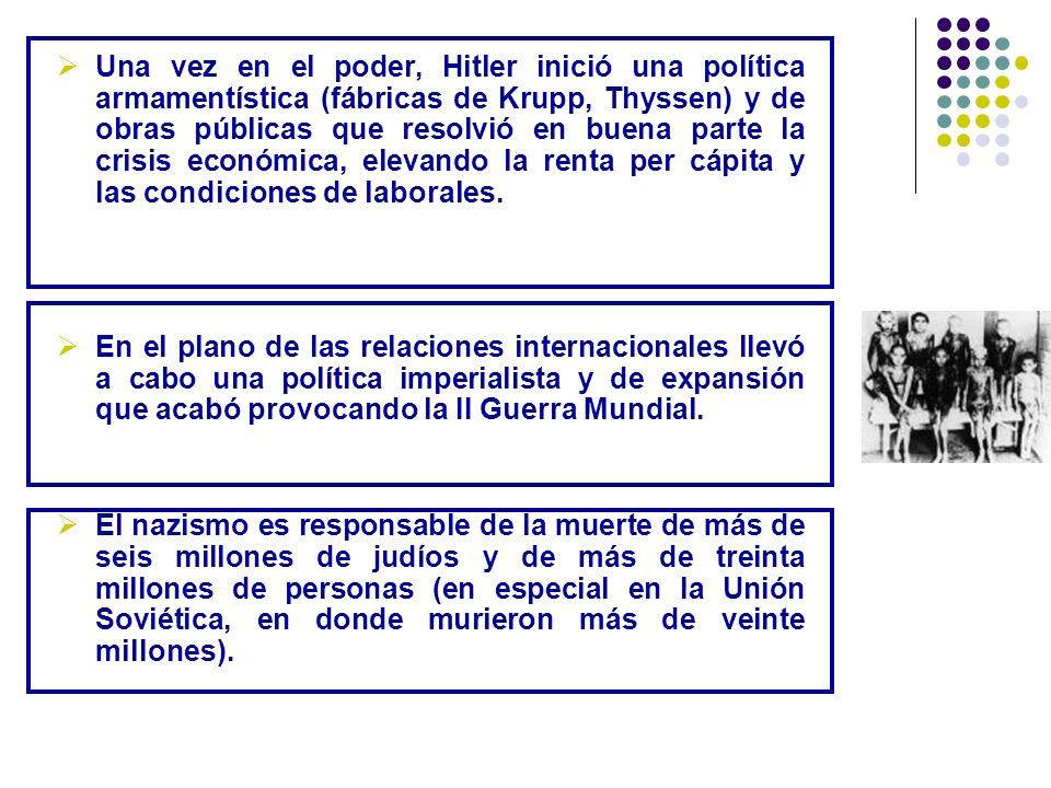 Una vez en el poder, Hitler inició una política armamentística (fábricas de Krupp, Thyssen) y de obras públicas que resolvió en buena parte la crisis