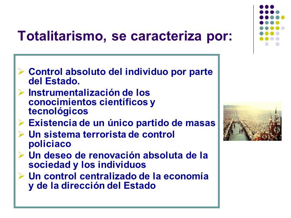 Totalitarismo, se caracteriza por: Control absoluto del individuo por parte del Estado. Instrumentalización de los conocimientos científicos y tecnoló