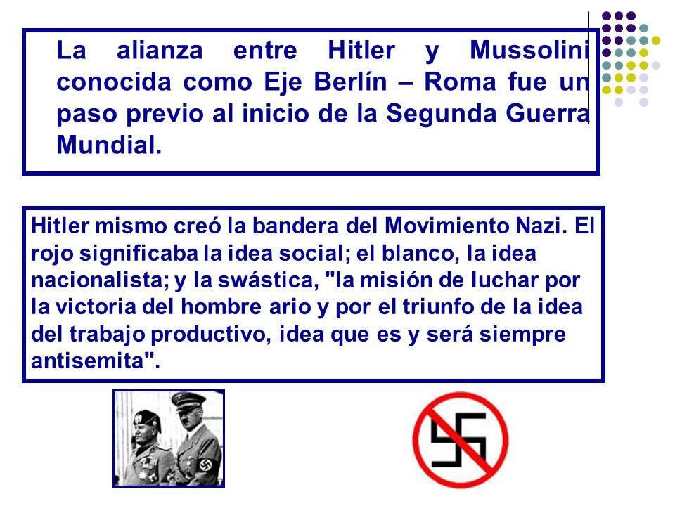 La alianza entre Hitler y Mussolini conocida como Eje Berlín – Roma fue un paso previo al inicio de la Segunda Guerra Mundial. Hitler mismo creó la ba