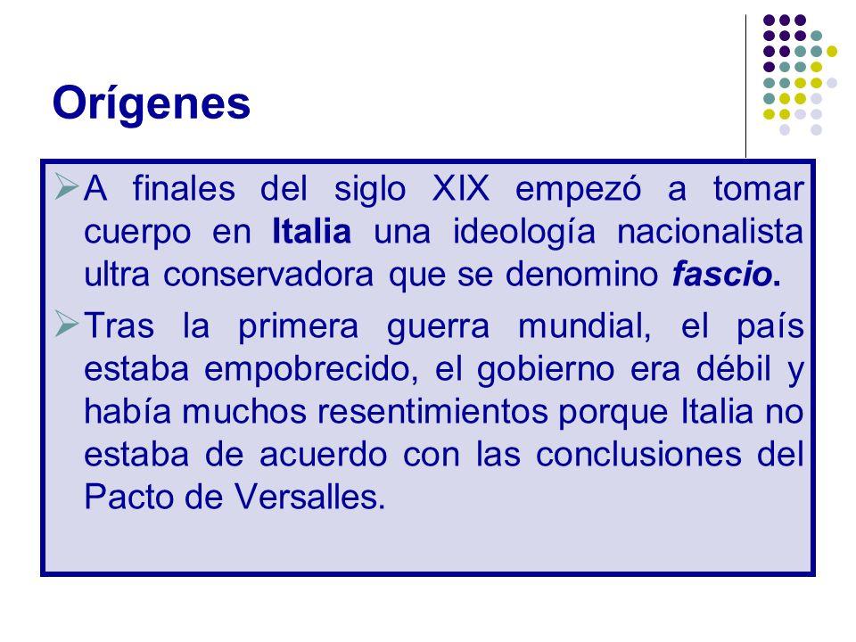 Orígenes A finales del siglo XIX empezó a tomar cuerpo en Italia una ideología nacionalista ultra conservadora que se denomino fascio. Tras la primera