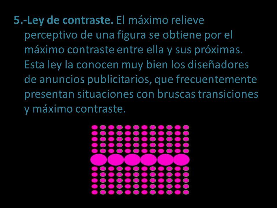 5.-Ley de contraste. El máximo relieve perceptivo de una figura se obtiene por el máximo contraste entre ella y sus próximas. Esta ley la conocen muy