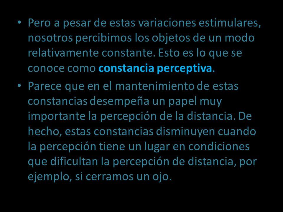 Pero a pesar de estas variaciones estimulares, nosotros percibimos los objetos de un modo relativamente constante. Esto es lo que se conoce como const