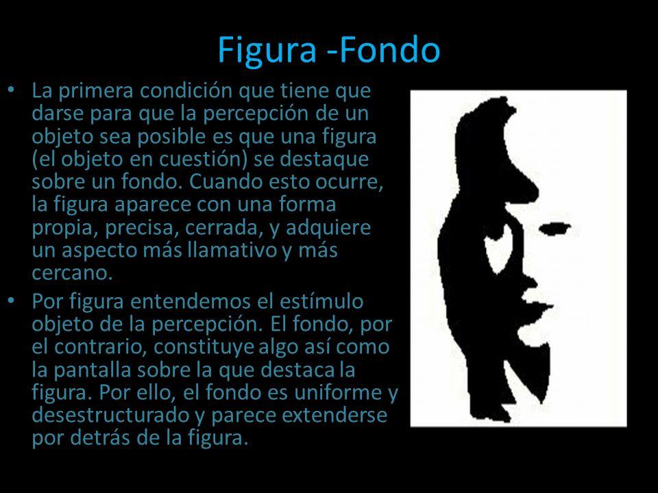 Figura -Fondo La primera condición que tiene que darse para que la percepción de un objeto sea posible es que una figura (el objeto en cuestión) se de