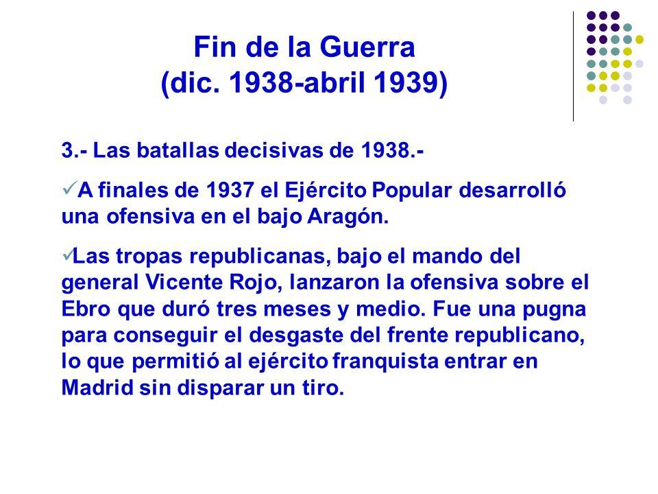Fin de la Guerra (dic. 1938-abril 1939) 3.- Las batallas decisivas de 1938.- A finales de 1937 el Ejército Popular desarrolló una ofensiva en el bajo