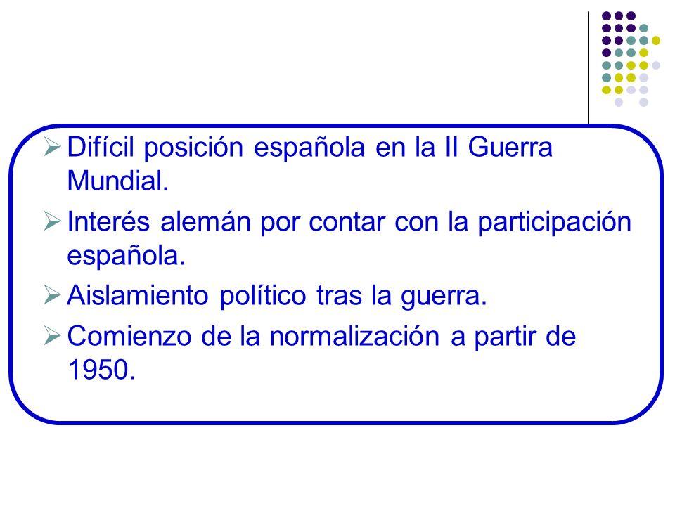 Difícil posición española en la II Guerra Mundial. Interés alemán por contar con la participación española. Aislamiento político tras la guerra. Comie