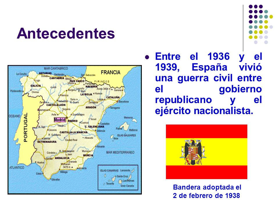 Antecedentes Entre el 1936 y el 1939, España vivió una guerra civil entre el gobierno republicano y el ejército nacionalista. Bandera adoptada el 2 de