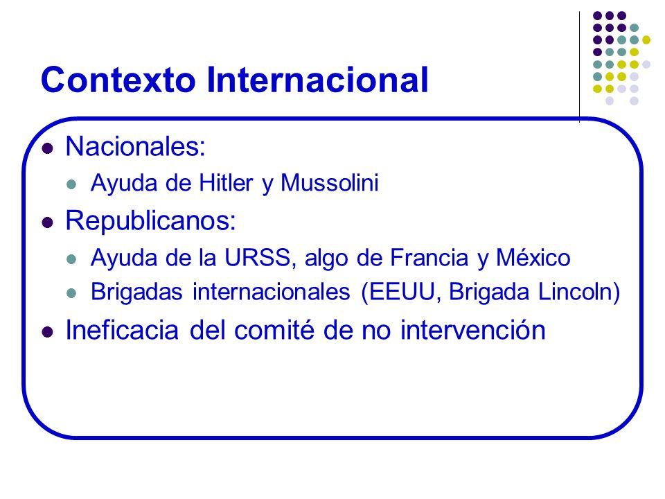 Contexto Internacional Nacionales: Ayuda de Hitler y Mussolini Republicanos: Ayuda de la URSS, algo de Francia y México Brigadas internacionales (EEUU
