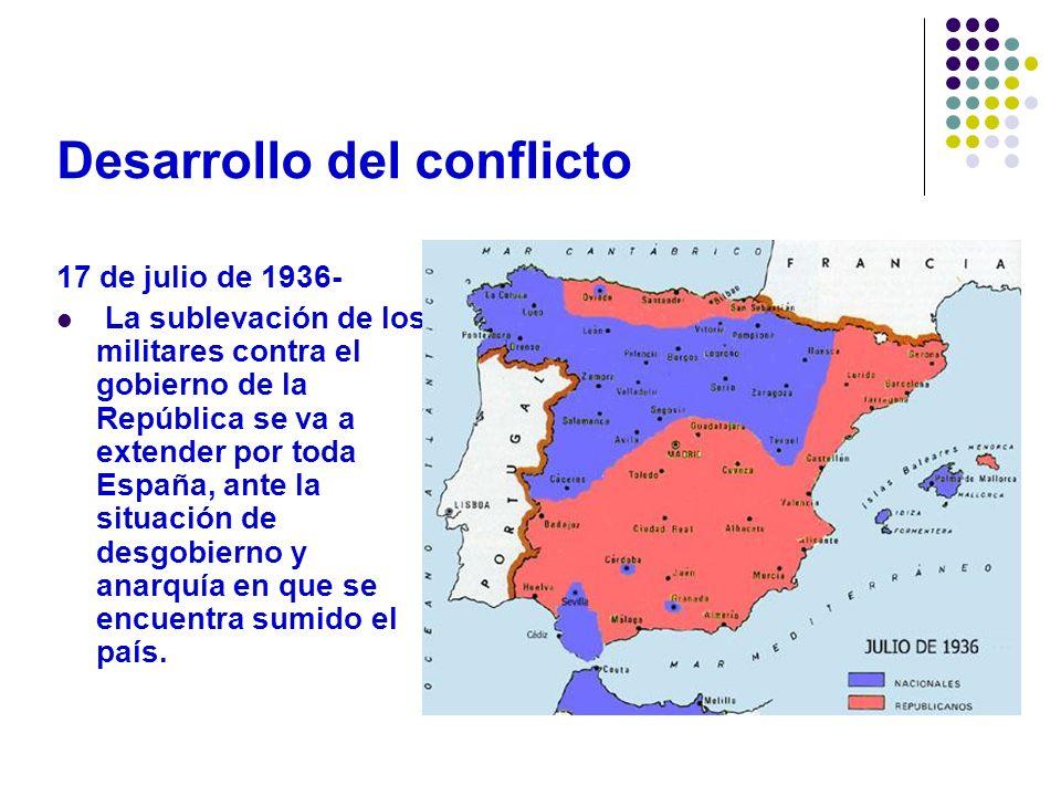 Desarrollo A continuación le explicaremos las tres etapas : 1.- El paso del estrecho y la Batalla de Madrid (1936).- Apenas iniciado el alzamiento, el general Franco gestionó la ayuda de barcos y aviones italianos y alemanes para que el ejército de África atravesara el estrecho de Gibraltar, el gran objetivo era entrar en Madrid.