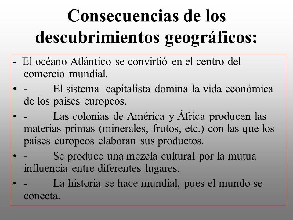 Consecuencias de los descubrimientos geográficos: - El océano Atlántico se convirtió en el centro del comercio mundial. - El sistema capitalista domin