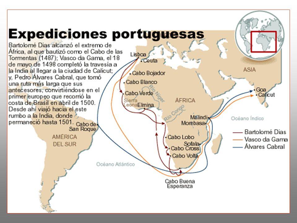 Las Exploraciones españolas: - La unificación lograda por los Reyes Católicos en 1492, permitió que España mirara a los océanos.