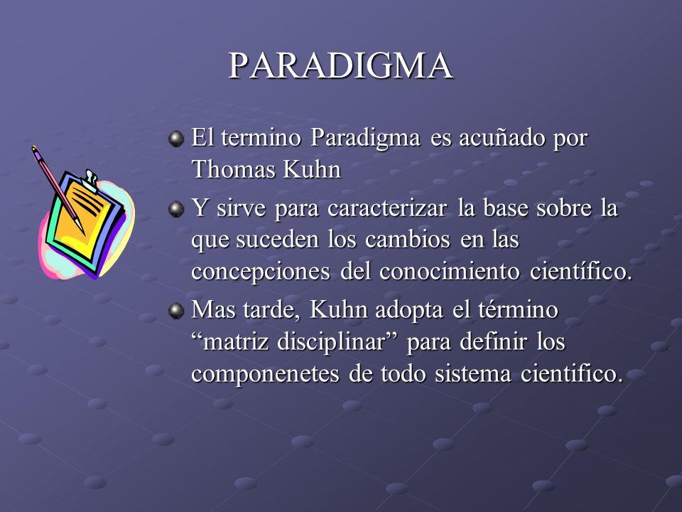 PARADIGMA El termino Paradigma es acuñado por Thomas Kuhn Y sirve para caracterizar la base sobre la que suceden los cambios en las concepciones del c