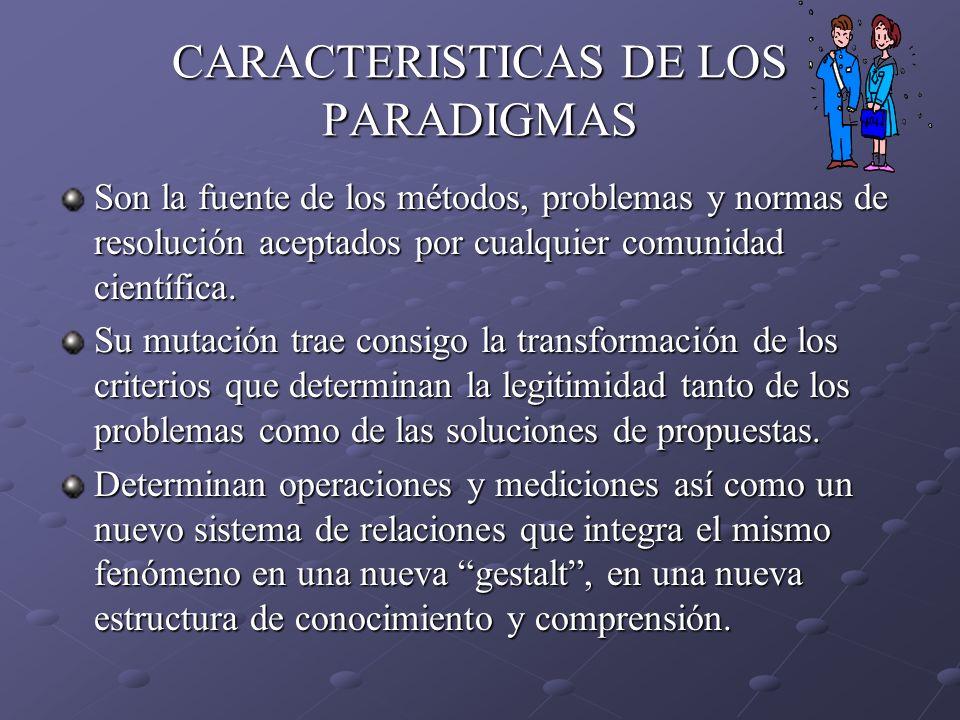 CARACTERISTICAS DE LOS PARADIGMAS Son la fuente de los métodos, problemas y normas de resolución aceptados por cualquier comunidad científica. Su muta