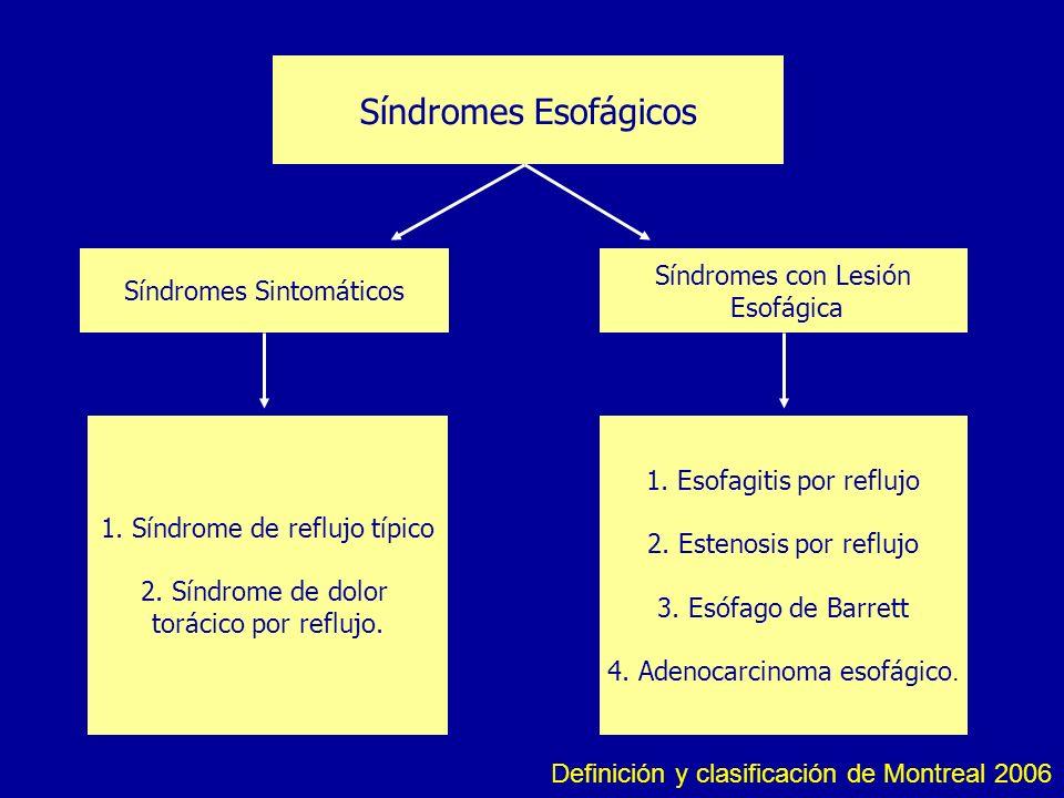 Síndromes Esofágicos Síndromes Sintomáticos Síndromes con Lesión Esofágica 1. Síndrome de reflujo típico 2. Síndrome de dolor torácico por reflujo. 1.