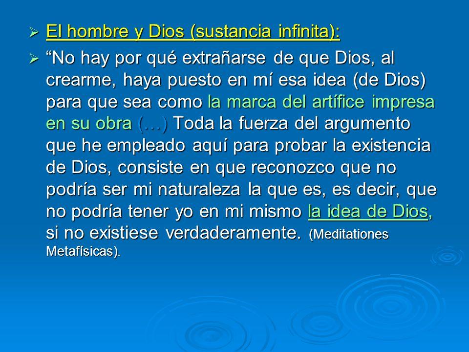 El hombre y Dios (sustancia infinita): El hombre y Dios (sustancia infinita): No hay por qué extrañarse de que Dios, al crearme, haya puesto en mí esa