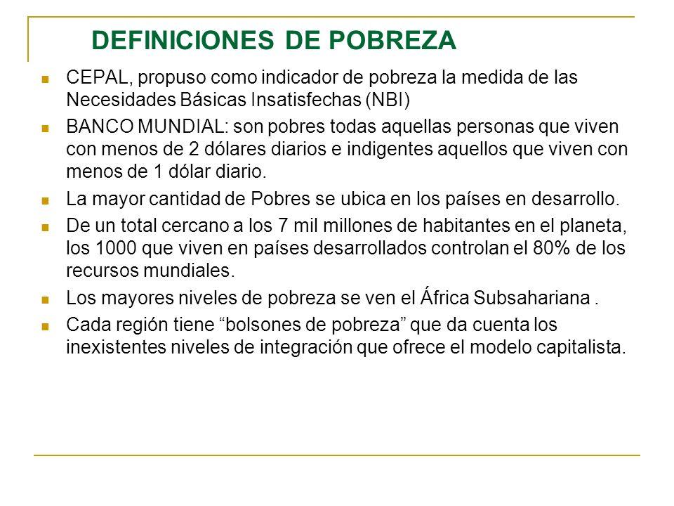 DEFINICIONES DE POBREZA CEPAL, propuso como indicador de pobreza la medida de las Necesidades Básicas Insatisfechas (NBI) BANCO MUNDIAL: son pobres to