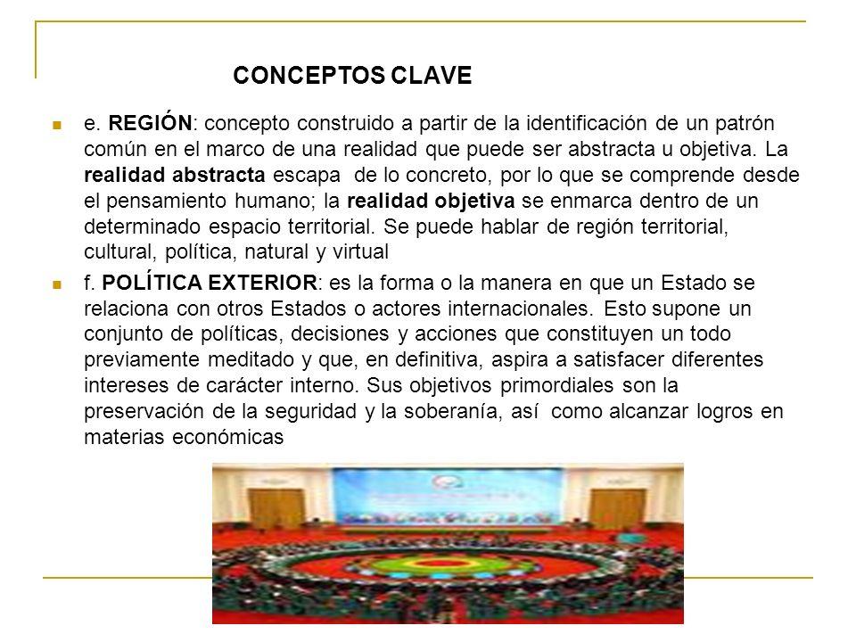 CONCEPTOS CLAVE e. REGIÓN: concepto construido a partir de la identificación de un patrón común en el marco de una realidad que puede ser abstracta u