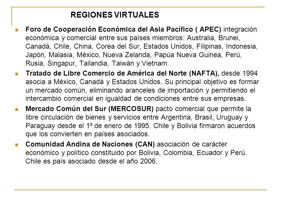 REGIONES VIRTUALES Foro de Cooperación Económica del Asia Pacífico ( APEC) integración económica y comercial entre sus países miembros: Australia, Bru