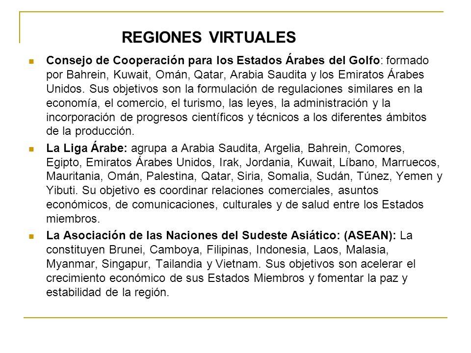 REGIONES VIRTUALES Consejo de Cooperación para los Estados Árabes del Golfo: formado por Bahrein, Kuwait, Omán, Qatar, Arabia Saudita y los Emiratos Á