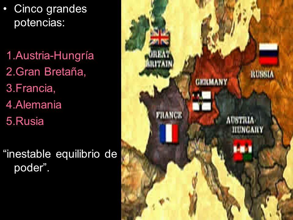 Cinco grandes potencias: 1.Austria-Hungría 2.Gran Bretaña, 3.Francia, 4.Alemania 5.Rusia inestable equilibrio de poder.