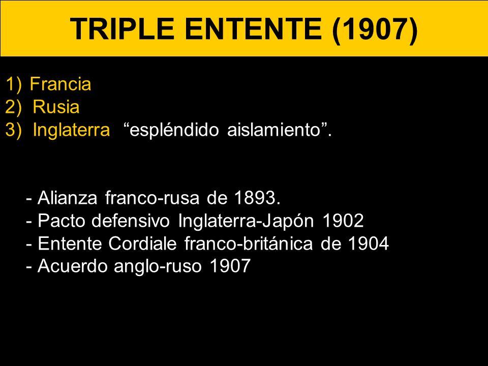 TRIPLE ENTENTE (1907) 1)Francia 2) Rusia. 3) Inglaterra. espléndido aislamiento. - Alianza franco-rusa de 1893. - Pacto defensivo Inglaterra-Japón 190