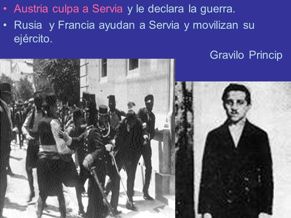 Austria culpa a Servia y le declara la guerra. Rusia y Francia ayudan a Servia y movilizan su ejército. Gravilo Princip