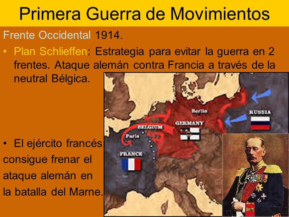 Primera Guerra de Movimientos Frente Occidental 1914. Plan Schlieffen: Estrategia para evitar la guerra en 2 frentes. Ataque alemán contra Francia a t