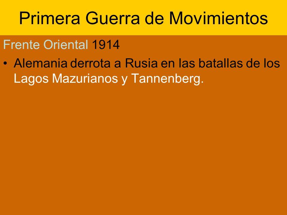 Primera Guerra de Movimientos Frente Oriental 1914 Alemania derrota a Rusia en las batallas de los Lagos Mazurianos y Tannenberg.
