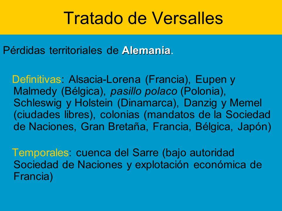 Tratado de Versalles Alemania Pérdidas territoriales de Alemania. Definitivas: Alsacia-Lorena (Francia), Eupen y Malmedy (Bélgica), pasillo polaco (Po