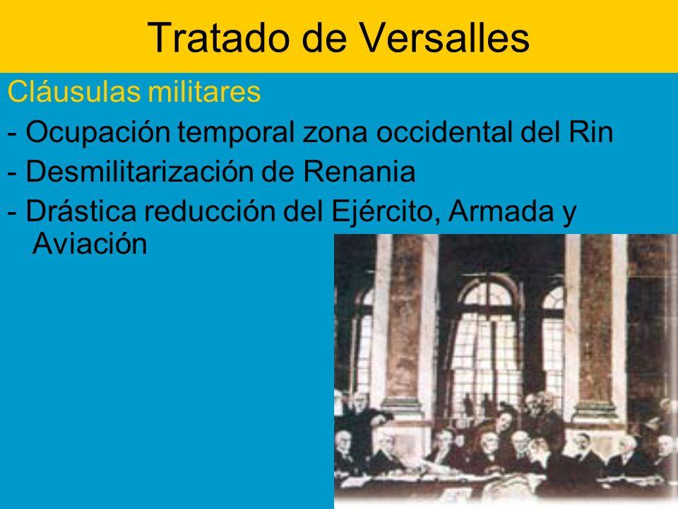 Tratado de Versalles Cláusulas militares - Ocupación temporal zona occidental del Rin - Desmilitarización de Renania - Drástica reducción del Ejército