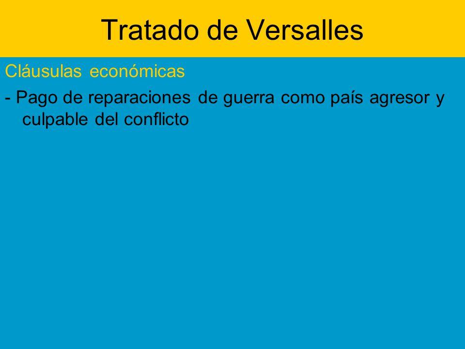 Tratado de Versalles Cláusulas económicas - Pago de reparaciones de guerra como país agresor y culpable del conflicto