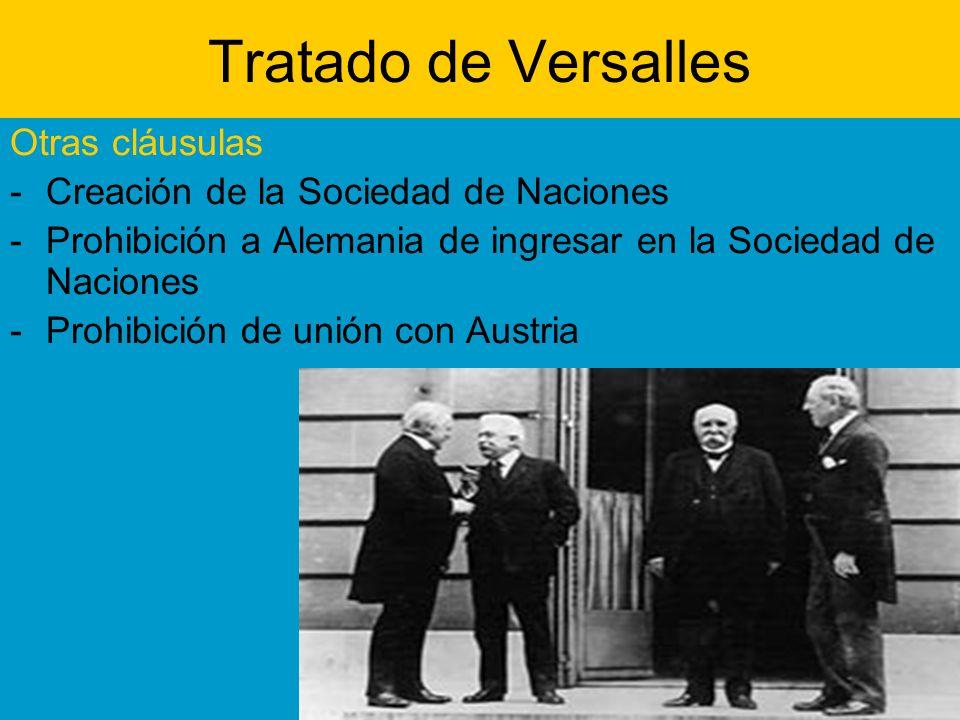 Tratado de Versalles Otras cláusulas -Creación de la Sociedad de Naciones -Prohibición a Alemania de ingresar en la Sociedad de Naciones -Prohibición