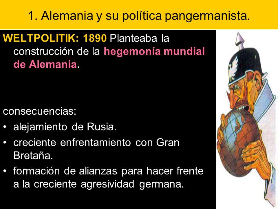 1. Alemania y su política pangermanista. WELTPOLITIK: 1890 Planteaba la construcción de la hegemonía mundial de Alemania. consecuencias: alejamiento d